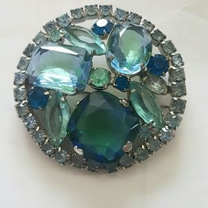 Vintage aqua blue brooch